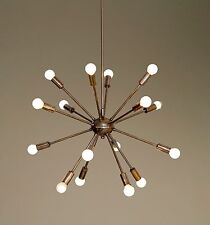 Mid Century Modern Patina Brass Sputnik Chandelier - 16 Arms Sputnik Light
