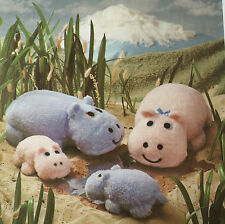 SEWING PATTERN Jean Greenhowe Hippo Family Animal Toy Set Toys Babies 38cm RARE