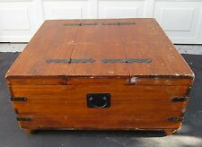 """VTG HAND CRAFTED LARGE WOOD STORAGE CHEST TABLE W/DBL OPENING -36""""W X36""""D X17""""T"""