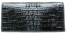 BLACK CROCODILE ALLIGATOR BONE SKIN LEATHER LUXURY CLUTCH PURSE WALLET
