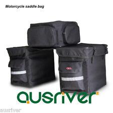 Motorcycle Motorbike Saddle Bag Tail Luggage Bag Black Oxford Reflective Strip
