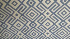 BLUE AND WHITE WOVEN COTTON GEOMETRIC UPHOLSTERY  FABRIC