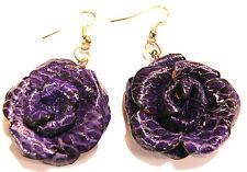 Boucles d'Oreilles Fleur Cuir Rose Violet mauve Bijoux Artisanat Flower Earring