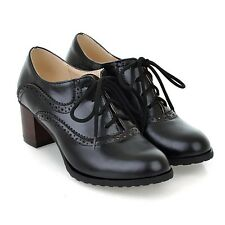 UK4-8.5 Wing Tip Womens Oxfords Mid Chunky Heel Brogue Retro Lace Up Pumps Shoes