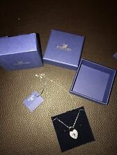 Authentic New NIB Swarovski Swan Signed Key Lock Pave Crystals Charm Necklace
