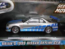 NISSAN Skyline GT-R 1999 silver Brian Fast & Furious black Tuning Greenligh 1:43