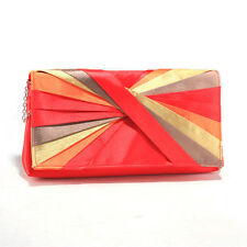 Women's Pleated Color Wheel Inspired Evening Bag - Coral/Multicolor