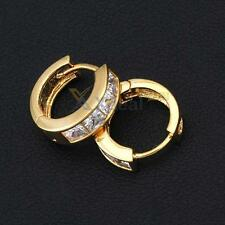 Fashion Simple Design 18K Gold Plated White Crystal Small Hoop Earrings Earstuds
