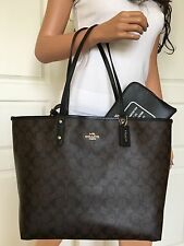 NWT COACH BROWN BLACK SIGNATURE LEATHER REVERSIBLE BLACK SHOULDER TOTE BAG PURSE