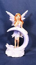 Fairy leaning on crescent moon resin  fantasy figurine (C)