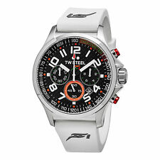 TW Steel Chronograph Black Dial White Rubber Men's Watch TW428