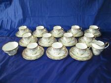 Stunning 38pc Salisbury China heavily Gilded Floral Tea Set (1st quality