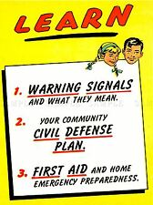 VINTAGE ADVERT LEARN WARNING SIGNALS CIVIL DEFENCE PLANS FIRST AID LV4532