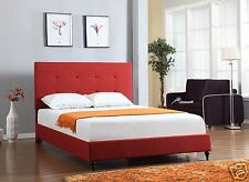 RED Upholstered FULL Size Platform Bed Frame & Slats Modern Home Bedroom NEW