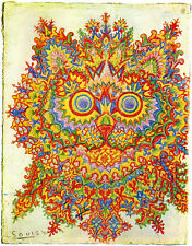 Louis Wain Psychedelic Cat Painting Albert Hoffman Real Canvas Art Print