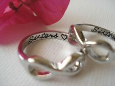 "Set of 2  ""Sisters with a heart"" custom engraved ring, Little sis and Big Sis"