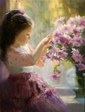 Huge Oil painting beautiful little girl with spring flowers on canvas