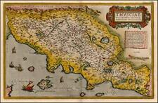 ORTELIUS vintage vieux antique couleur couleur Tuscany Italie Italia carte de reproduction