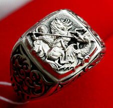 NEW !!! RUSSIAN ORTHODOX ICON RING w/ ST. GEORGE WARRIOR. STERLING SILVER 925.