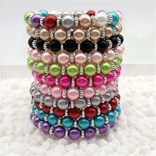 NEW 11Pcs Color Fashion Jewelry 8mm  color water Pearl Beads Stretch Bracelet
