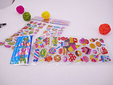 3 Sheets Dessert Hamburger Bubble Stickers Lot Kids Party Bag Fillers Gift B54