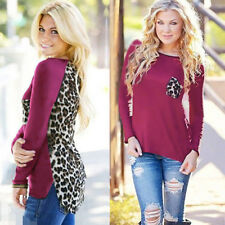 Fashion Women Leopard Print Pullover Long Sleeve Casual Loose T-shirt Top Blouse