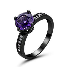 Hot Amethyst Wedding Rings Size 5.5 Royal Womens CZ 14Kt Black Gold Filled