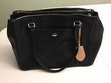 Coach F25669 Black Saffiano Peyton Leather Double Zip Carryall Shoulder Tote