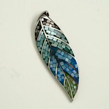 925 Sterling Silver Leaf Natural Mother of Pearl Shell Pendant  04927