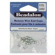 Beadalon Silver Plated Memory Wire End Cap 5mm/10 Beads