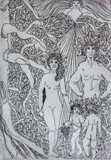 American Contemporary Art Print Adam & Eve Limited Edition Etching Pencil Signed