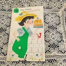Vintage Greeting Card Birthday Cute Girl Farmer Fence