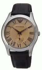 Emporio Armani AR1704  Classic Brown Leather 43mm Dial Dress Watch - New in Box