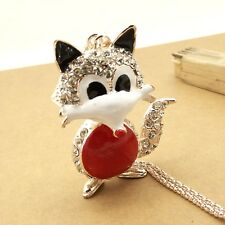 Fashion Gold plating Crystal Lovely Fox sweater chain long necklace CC327