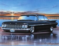 1959 Chevy Impala 2 Door Hardtop Classic Car Art Print Black 11x14 Poster