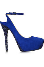 NIB JIMMY CHOO TAME SWAROVSKI CRYSTAL-EMBELLISHED SUEDE SHOES-ROYAL BLUE,SIZE 40
