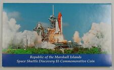 """1988 Marshall Islands $5 Coin """"Space Shuttle Discovery"""" in Presentation Folder"""