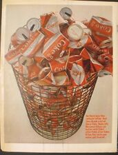 1966 Coca-Cola Red & White Diamond Soda-Pop Feather Touch Can Vintage Coke Ad