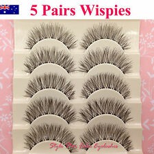 5 Pair Wispies Natural Long Thick Soft Fake False Eyelashes Handmade Extensions