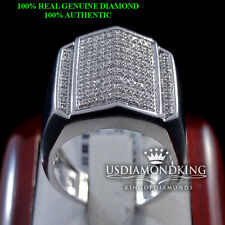 MEN'S NEW 108 GENUINE REAL DIAMOND PYRAMID SHAPED PINKY RING BAND WHITE FINISH