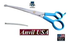 "TP/ANVIL PRO PET GROOMING CURVED 7.5"" Safety/Blunt/Ball Tip/Nose SHEARS Scissors"