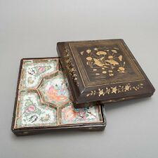 Antique Chinese 5-Piece Porcelain Dish Set in Custom Wood Box with Gold Paint