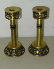 Israel Oppenheim Brass Shabbat Kodesh Candle Sticks Pillar Stick Pair