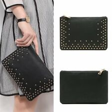 New Women Leather Rivet Handbag Party Evening Envelope Clutch Bag Wallet Purse