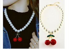 Green Leaves Gem Jewel Red Cherry Charm White Faux Pearls Necklace - SHIPS FAST!
