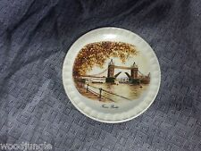 Vintage TOWER BRIDGE PLATE DISH LONDON of THAMES ROYAL FALCON WEATHERBY ENGLAND