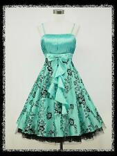 dress190 Blue Floral 50s Rockabilly Prom Ball Gown Evening Party Dress UK 22-24