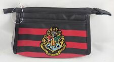New Harry Potter Hogwarts Crest Striped Cosmetic Make-Up Travel Tote Bag Purse