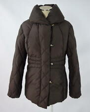 LARRY LEVINE Brown Down Quilted Puffer Puff Collar Jacket Zip Up Coat Womens L