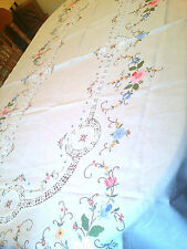 VTG Cut out CROSS STITCH Embroidered CROCHET Lace Tablecloth Bedspread 96''x 63